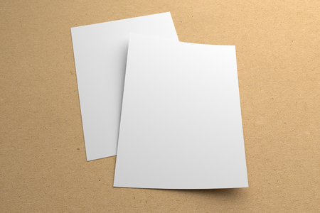 Blank two 3D illustration flyers mockup on recycled paper background