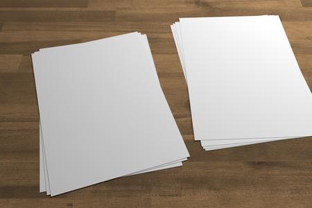 Two stacks of flyers or leaflets 3D illustrationon mockup on wood