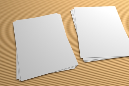 Stacks of 3D illustration flyers mockup on striped texture