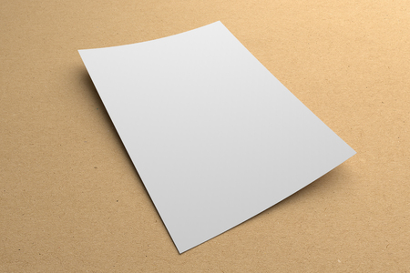 Blank 3D illustration flyer poster on recycled paper to place your artwork