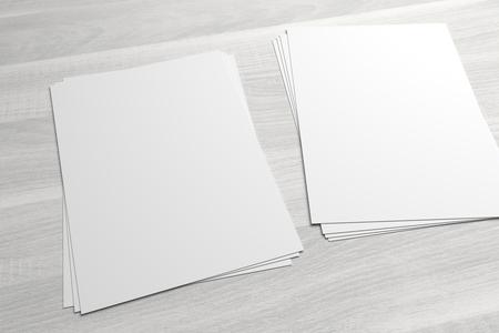 Couple of stacks of flyers or leaflets 3D illustrationon mock-up on wood Standard-Bild