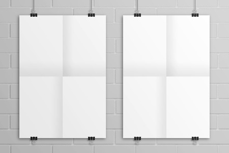 White hanging 3D illustration folded paper poster mockup.