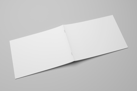 Blank 3D rendering brochure magazine on gray with clipping path No. 1