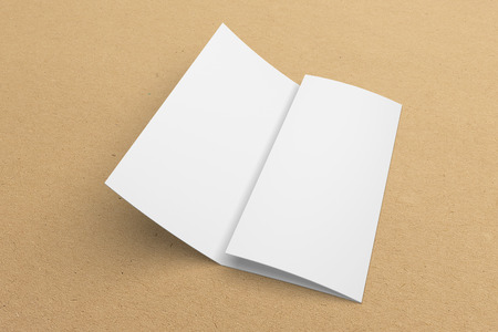Blank 3D rendering tri-fold brochure mock-up with clipping path on texture No. 2