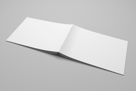 Blank 3D rendering brochure magazine on gray with clipping path No. 2