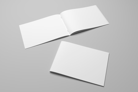 Blank 3D rendering brochure magazine on gray with clipping path No. 5