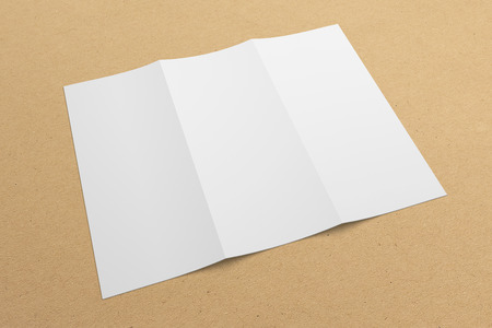 Blank opened 3D rendering tri-fold brochure mock-up with clipping path. Template on recycled paper texture background. Composition No. 5