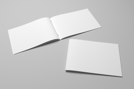Blank 3D rendering brochure magazine on gray with clipping path No. 10 Stockfoto