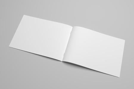 Leeg 3D-rendering brochure tijdschrift op grijs met uitknippad nr. 12