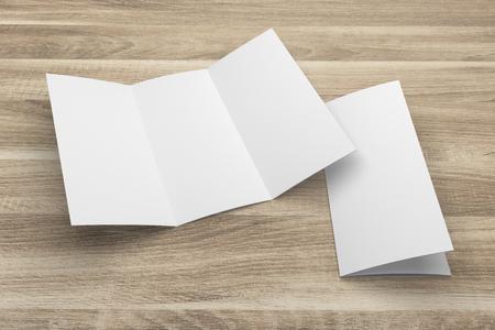 Blank 3D-Rendering Dreifach-Broschüre Mock-up mit Beschneidungspfad auf Holz Nr. 1 Standard-Bild - 80808592