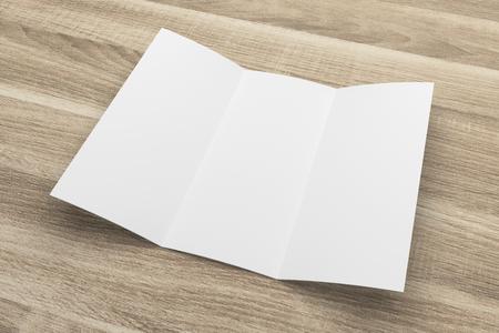 Blank 3D-Rendering dreifach gefaltete Broschüre Mock-up mit Beschneidungspfad auf Holz Nr. 4 Standard-Bild - 81260706