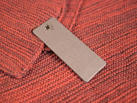 Blank two label price tags mockup on wool. Standard-Bild