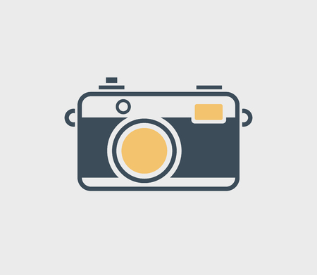 Vintage camera icon isolated on gray background.