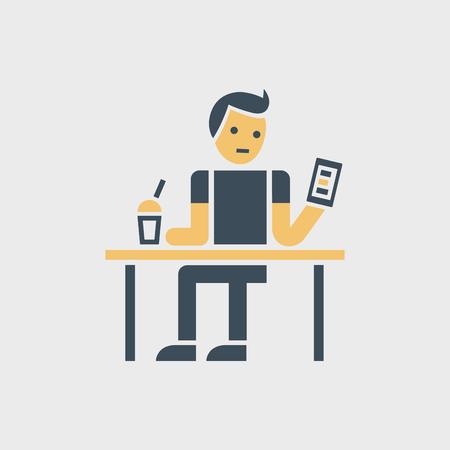 Sitzender Mann mit Smartphone und Dring. Standard-Bild - 82926668