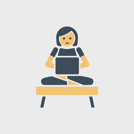 Vector woman character working with laptop.