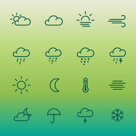 Lines weather forcast Icon set on green gradient.