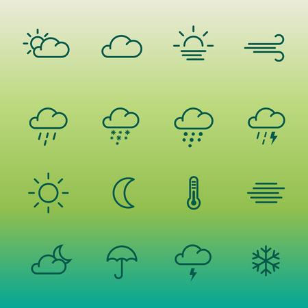 Lines wetter forcast Icon auf grüner Steigung gesetzt. Standard-Bild - 82943253