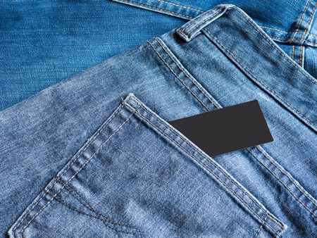 Blue jeans detail with empty label tag