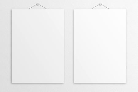 Blank 3D illustration B1 poster mockup with frame.
