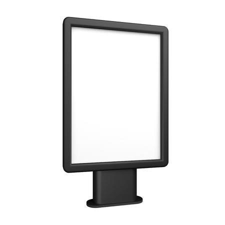 Black 3D illustration light box citylight mockup isolated on white.