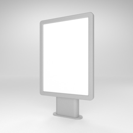 Schwarzer leerer Leuchtkasten der Illustration 3D oder citylight Modell. Standard-Bild - 83596768