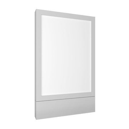 Blank 3D illustration city light box mockup isolated on white. Standard-Bild