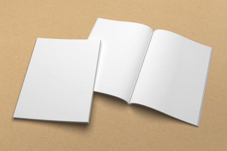 Broschüre 3D Illustration Mockup auf Recyclingpapier Textur . 1 Standard-Bild - 83596770