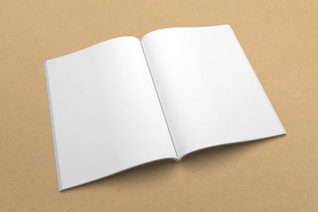 Broschüre 3D Illustration Mockup auf Recyclingpapier Textur . 3 Standard-Bild - 83596771