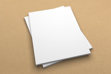 Brochure 3D illustration mockup on recycled paper texture No. 5 Standard-Bild