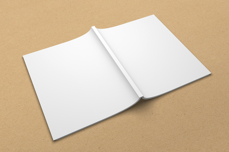 Brochure 3D illustration mockup on recycled paper texture No. 6