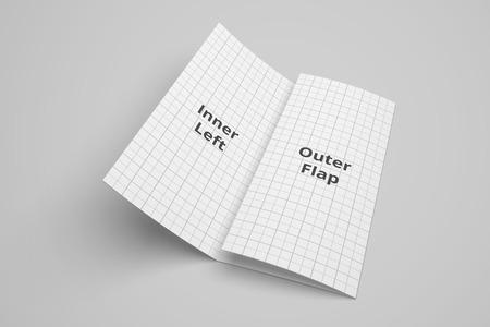 US Letter tri fold brochure 3D illustration mockup with grid No. 2 Standard-Bild