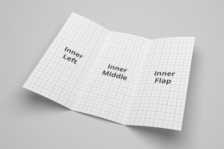 US Brief Tri Falten Broschüre 3D Abbildung Mockup mit Raster Nr. 4 Standard-Bild - 83848732