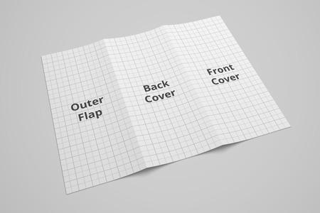 US Letter dreifachgefaltete Broschüre 3D-Modell mit Raster Nr. 5 Standard-Bild - 83848733