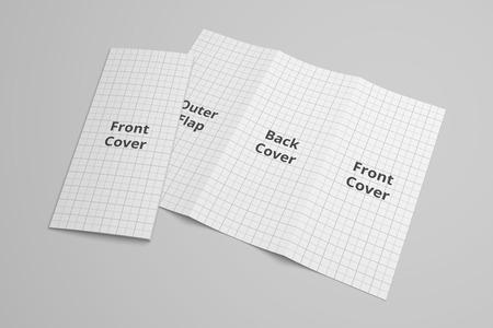 US Letter tri fold brochure 3D illustration mockup with grid No. 6