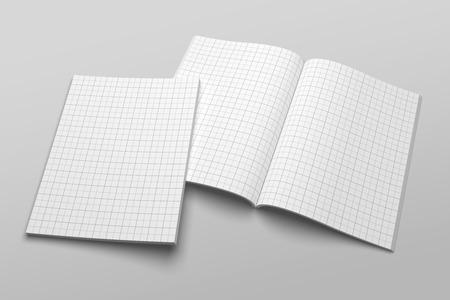 US Letter magazine or brochure 3D illustration mockup with grid No. 1 Standard-Bild