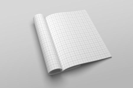 US Letter magazine or brochure 3D illustration mockup with grid No. 2