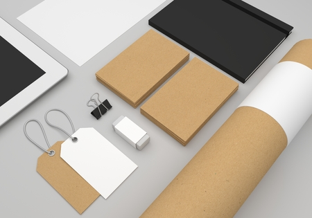 Stationery 3D illustration mockup with business cards and fashion hang tags.
