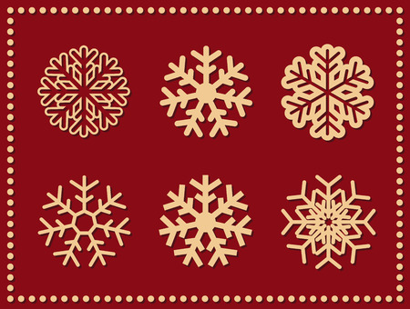 Set of isolated vector icon snowflakes on red.