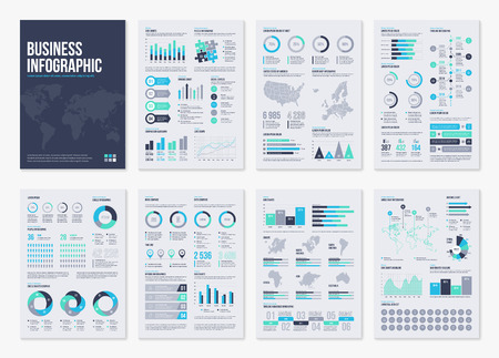 Infographic vector brochure elements for business illustration in modern style. Illustration