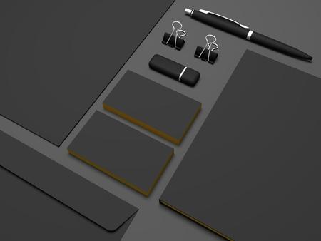 Visitenkarten der Illustration 3D des Briefpapiers schließen oben. Standard-Bild - 89505643
