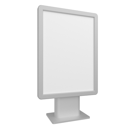 Blank 3D illustration light box citylight mockup isolated on white.