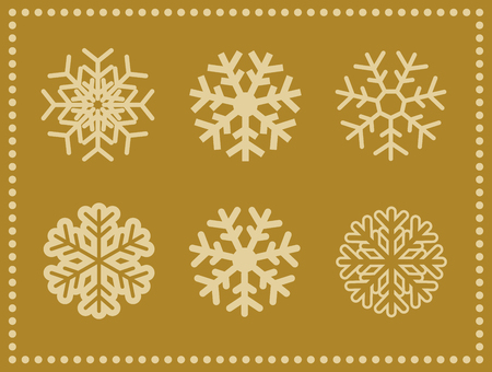 Set of vector icons snowflakes with border. Standard-Bild