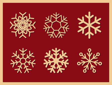 Set of vector icons snowflakes on red background.