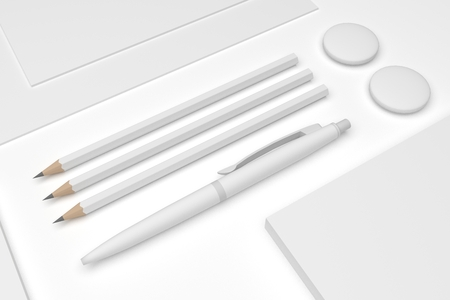 Blank 3D illustration mockup focus on pens and pencil. 免版税图像