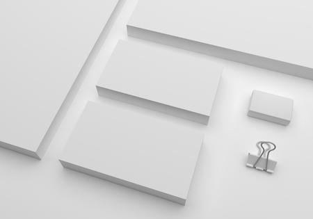 Leere 3D-Darstellung Mockup Visitenkarten Standard-Bild - 90037254