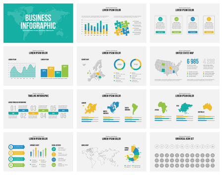 Presentation slides template with maps. Business flat design style of infographics with set of icons.