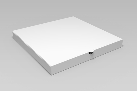 Blank 3d illustration pizza box mock up on grey.