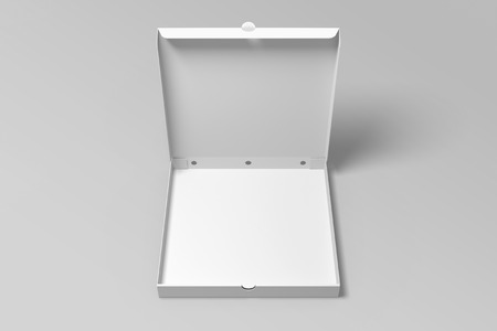 Empty 3d illustration opened pizza box mock up template.