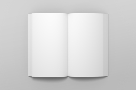Empty opened 3D illustration of book mockup.