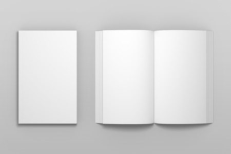 Empty top view 3D illustration of book mockup. 免版税图像